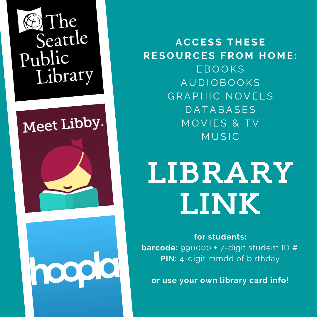 Flyer advertising library resource and listing access instructions. Paragraph text includes all details.